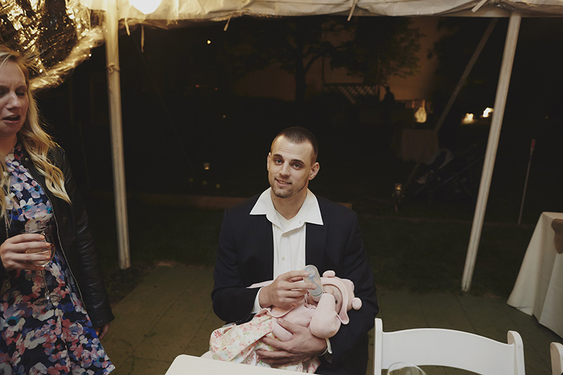 feeding the baby at a wedding