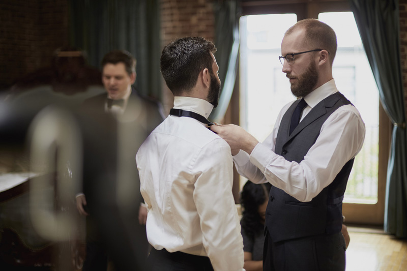 The groom is getting ready
