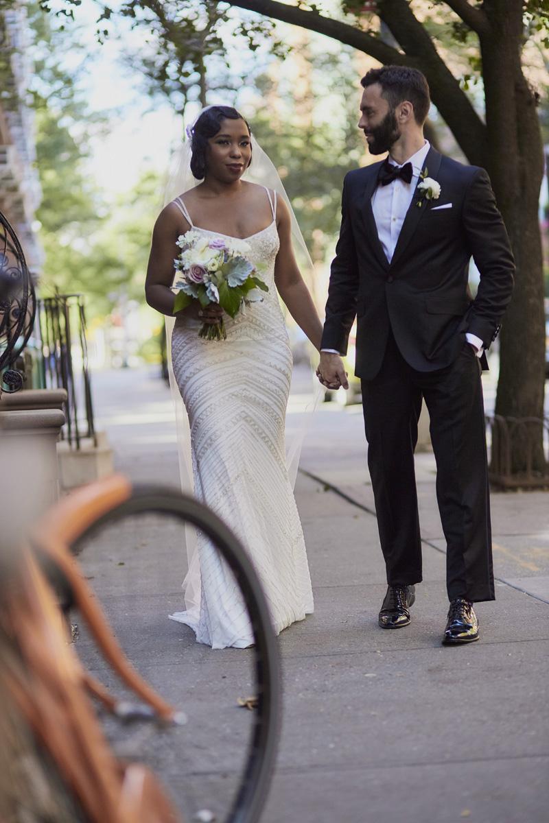 bride and groom walking, bride, groom