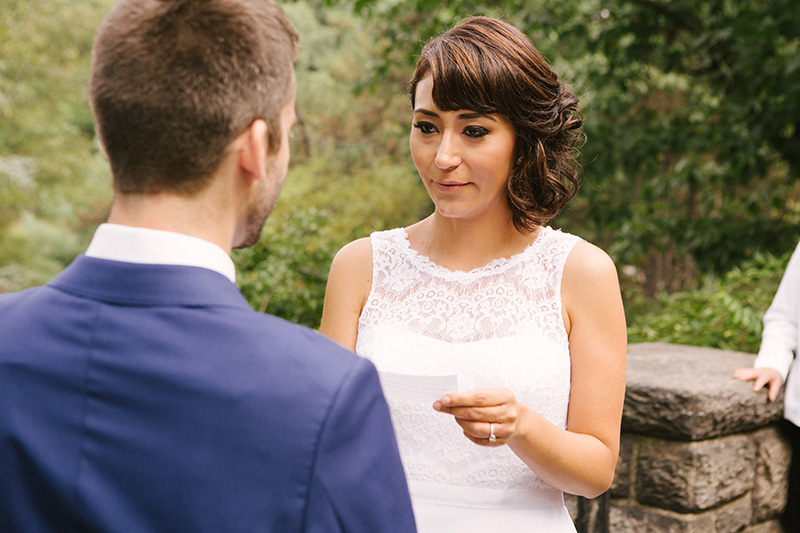 bride reading personal vows