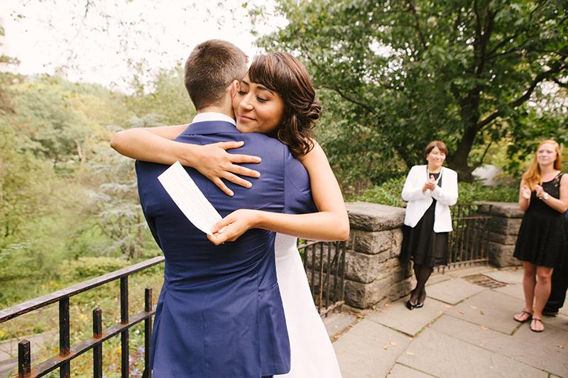 bride hugging the groom