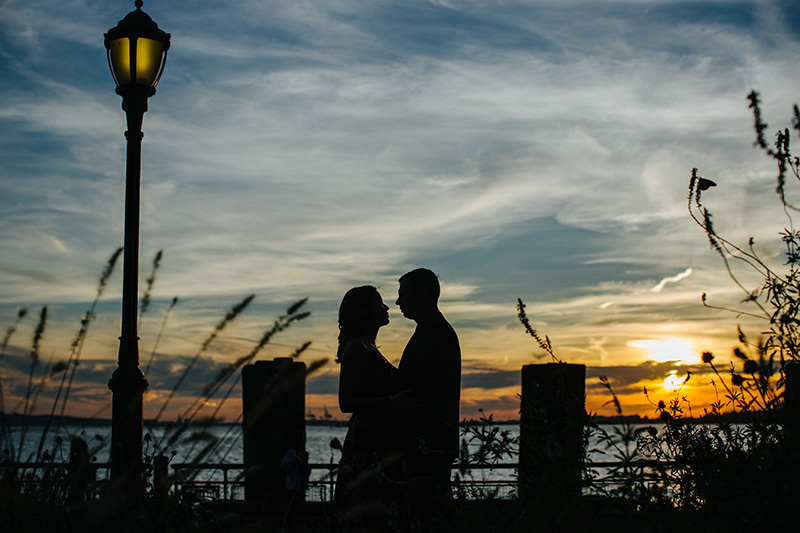 Battery park engagement photography