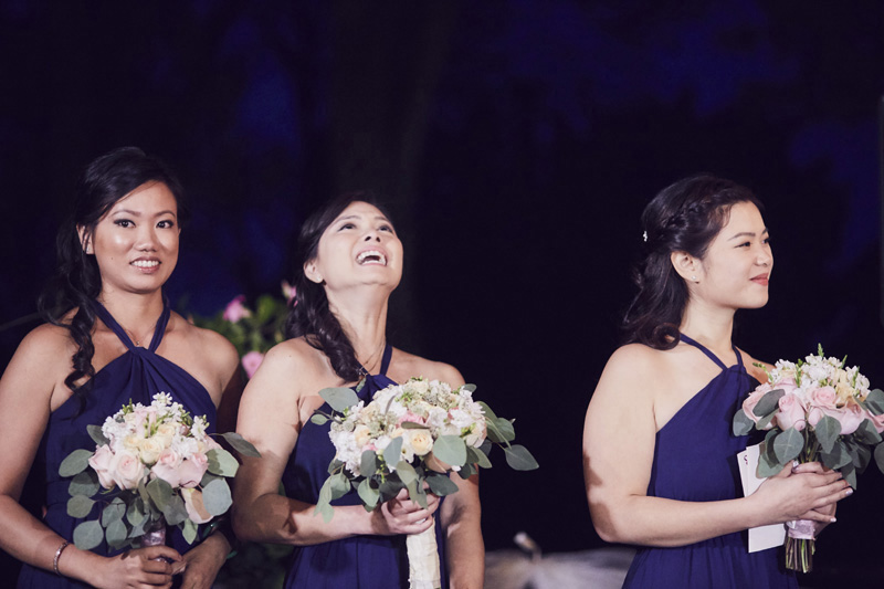 bride maids at wedding ceremony