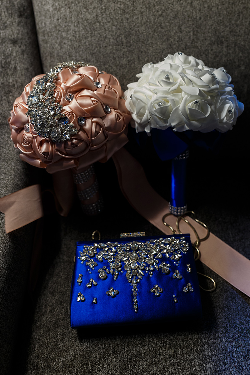 wedding bouquet and purse