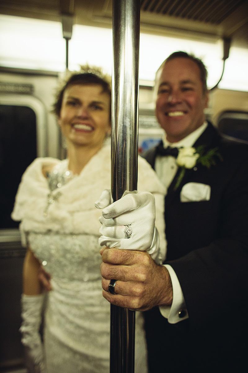 NYC subway wedding photos