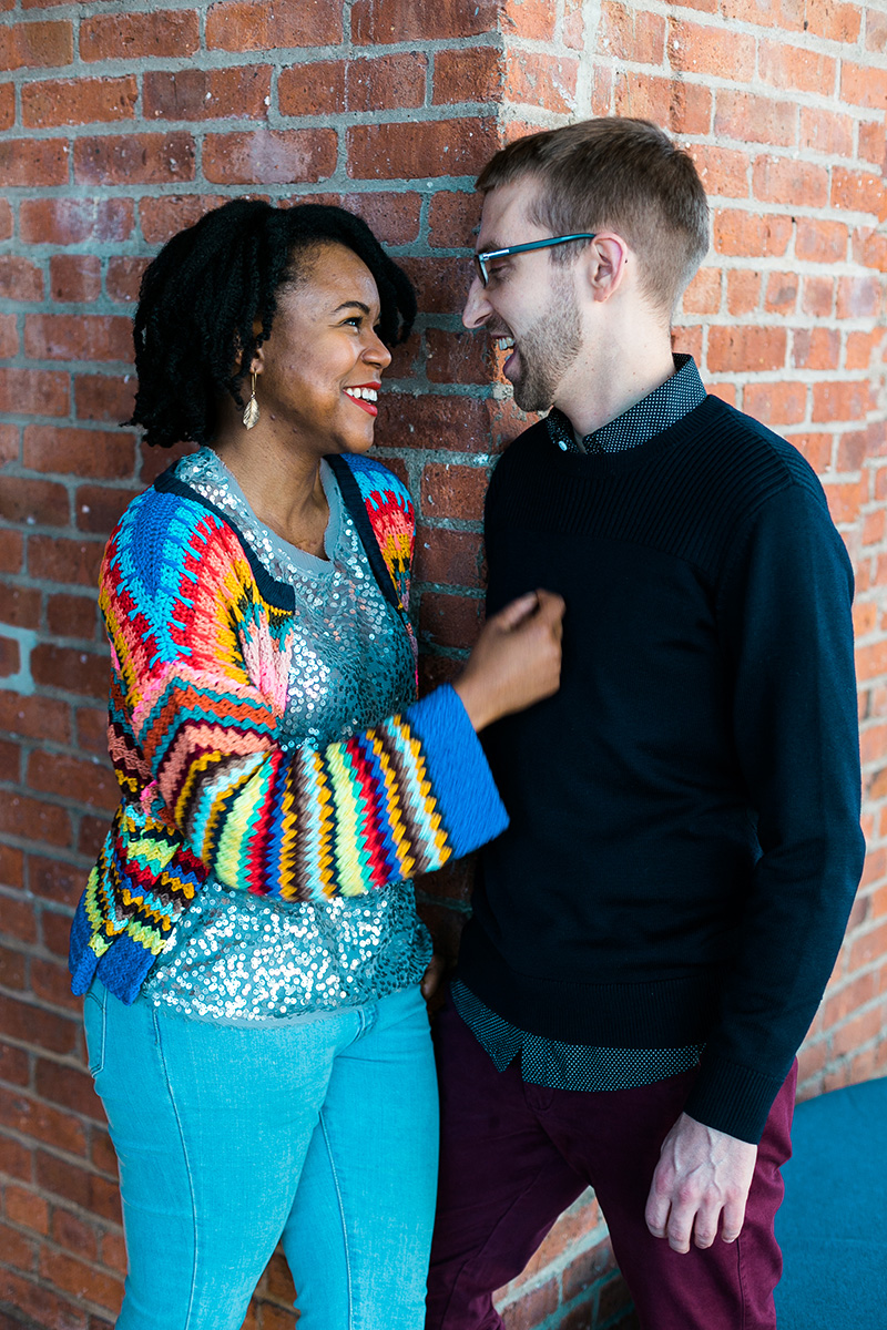 Biracial engagement photography
