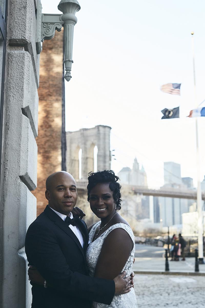 Bride and groom posing
