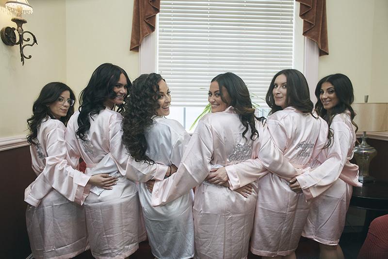 Bride and brides maids in kimono robes
