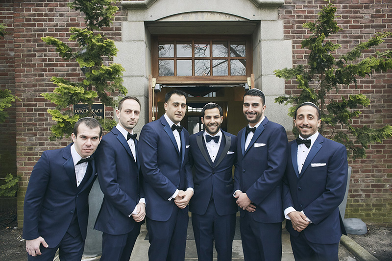 Groom and groomsmen portrait at Brooklyn Orthodox Jewish wedding