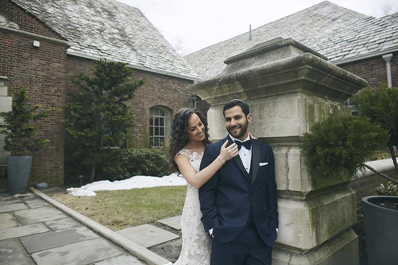 Orthodox Jewish bride and groom