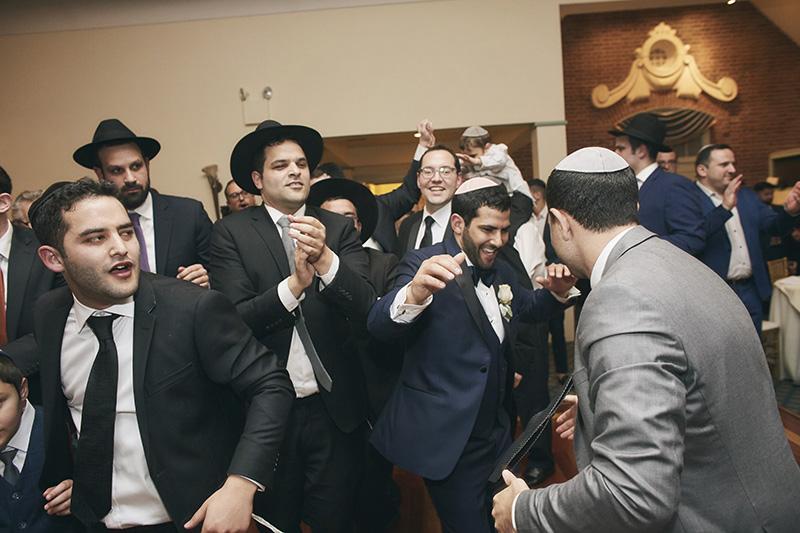 Orthodox Jewish wedding party
