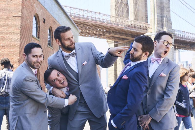 groom and groomsmen funny portrait