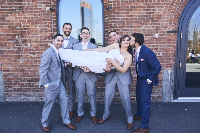 bride with groomsmen and groom