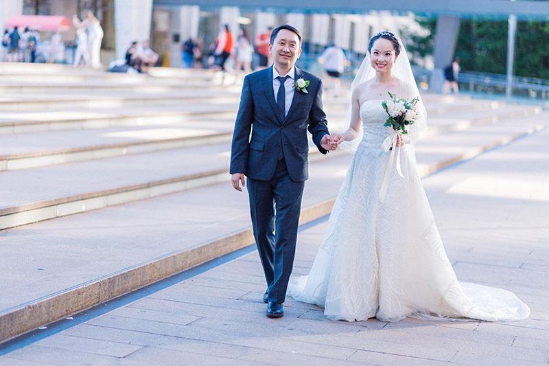 walking wedding shot