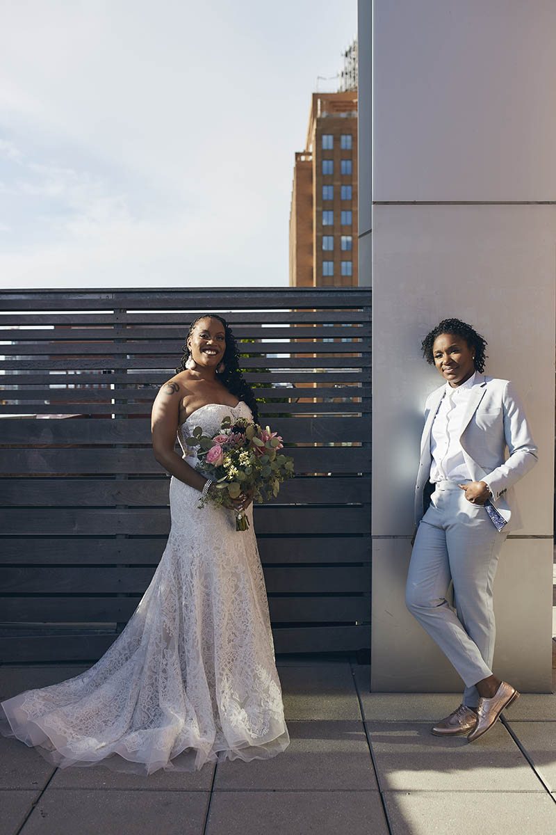 Rooftop wedding portraits