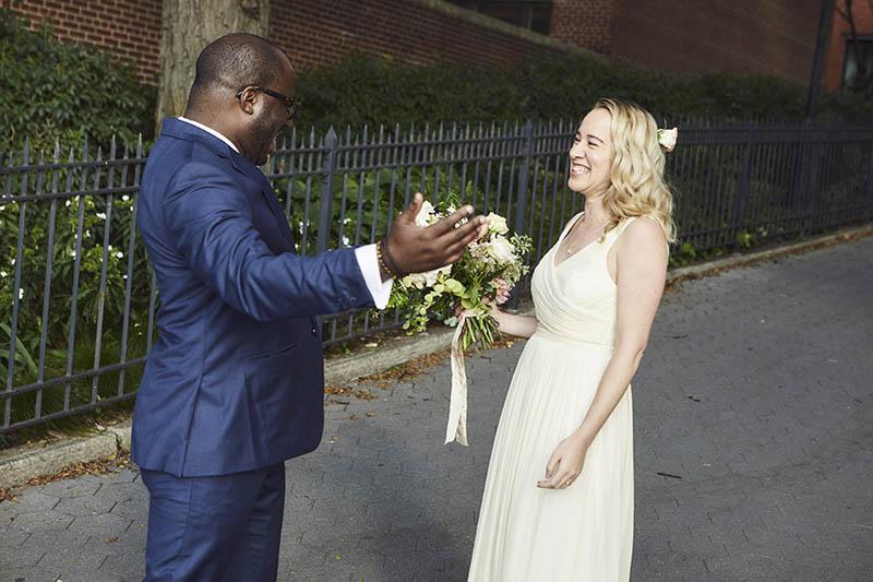 Brooklyn promenade wedding first look