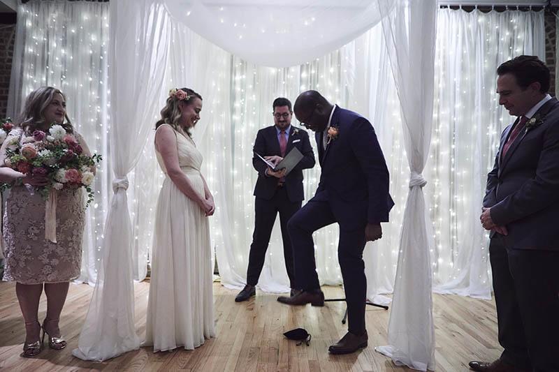 Interracial wedding ceremony