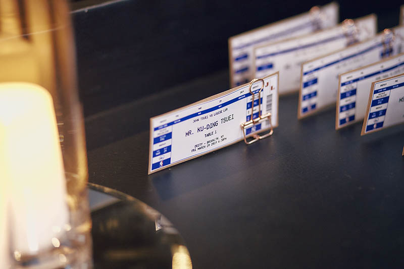 NBA tickets style wedding escort cards