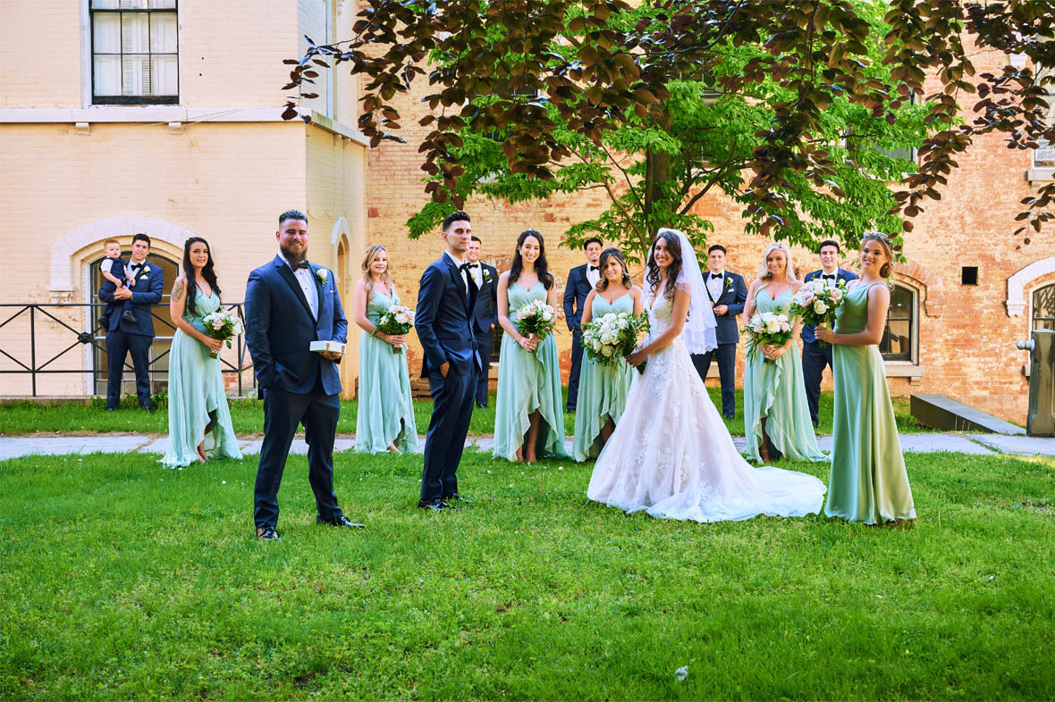 Bridal party scattered portrait