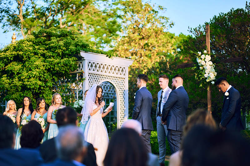 Bride reading personal wedding vows